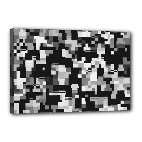 Background Noise In Black & White Canvas 18  X 12  (framed) by StuffOrSomething