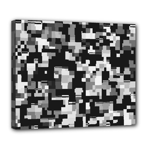 Background Noise In Black & White Deluxe Canvas 24  X 20  (framed) by StuffOrSomething