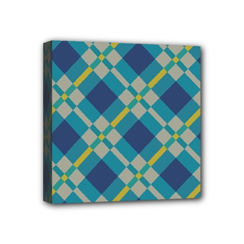 Squares And Stripes Pattern Mini Canvas 4  X 4  (stretched) by LalyLauraFLM