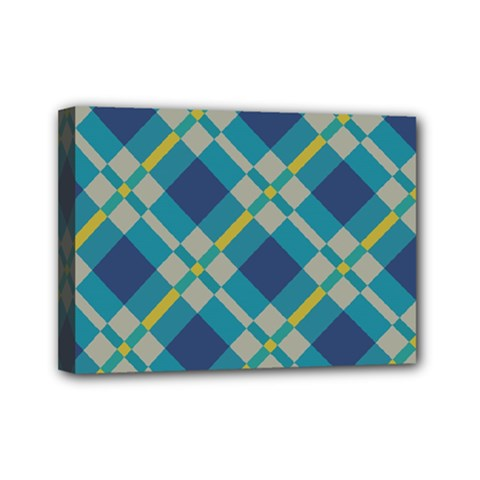 Squares And Stripes Pattern Mini Canvas 7  X 5  (stretched) by LalyLauraFLM