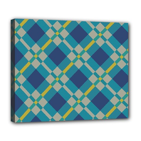 Squares And Stripes Pattern Deluxe Canvas 24  X 20  (stretched) by LalyLauraFLM