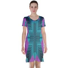 Tribal Purple Rhombus Short Sleeve Nightdress