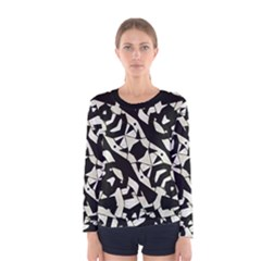 Black and White Print Long Sleeve T-shirt (Women) by dflcprintsclothing