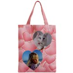 Pink Heart Zipper Classic Tote Bag