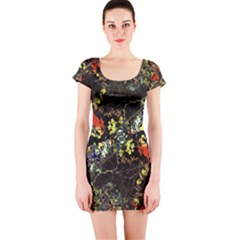 Floral Collage Print Short Sleeve Bodycon Dress