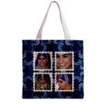 Blue Damask Shopper Tote - Grocery Tote Bag