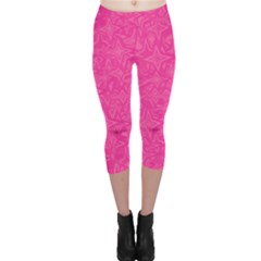 Abstract Stars In Hot Pink Capri Leggings  by StuffOrSomething