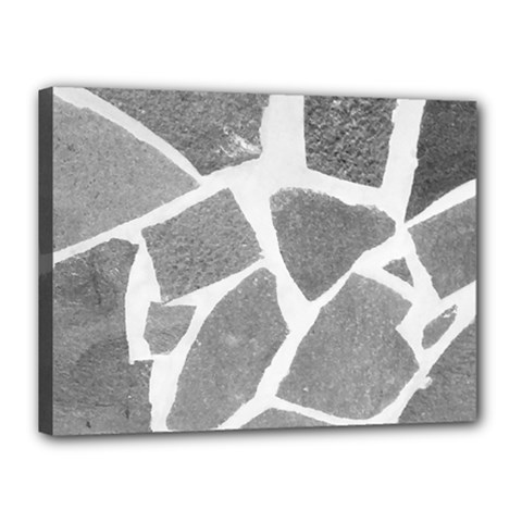 Grey White Tiles Pattern Canvas 16  X 12  (framed)