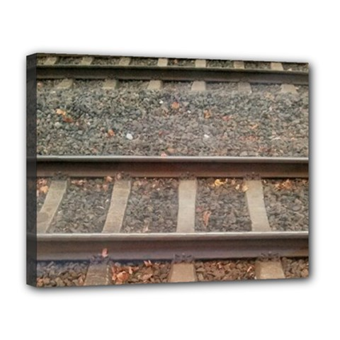 Railway Track Train Canvas 14  X 11  (framed) by yoursparklingshop