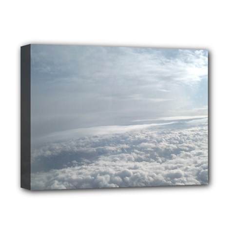Sky Plane View Deluxe Canvas 16  X 12  (framed)  by yoursparklingshop