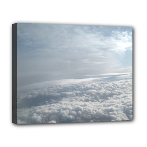 Sky Plane View Deluxe Canvas 20  X 16  (framed) by yoursparklingshop