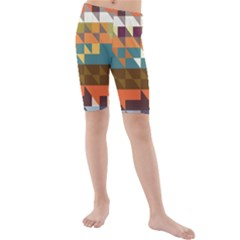 Shapes in retro colors Kid s Swim Shorts by LalyLauraFLM
