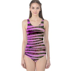 Hot Pink Black Tiger Pattern  Women s One Piece Swimsuit by OCDesignss