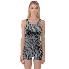 Silver Zebra  Women s Boyleg One Piece Swimsuit