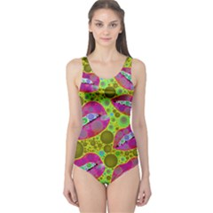 Sassy Lips Bubbles  Women s One Piece Swimsuit by OCDesignss