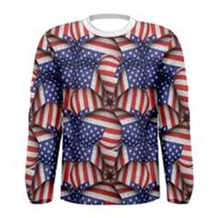 4th of July Modern Pattern Print Men s Long Sleeve T-shirt by dflcprintsclothing