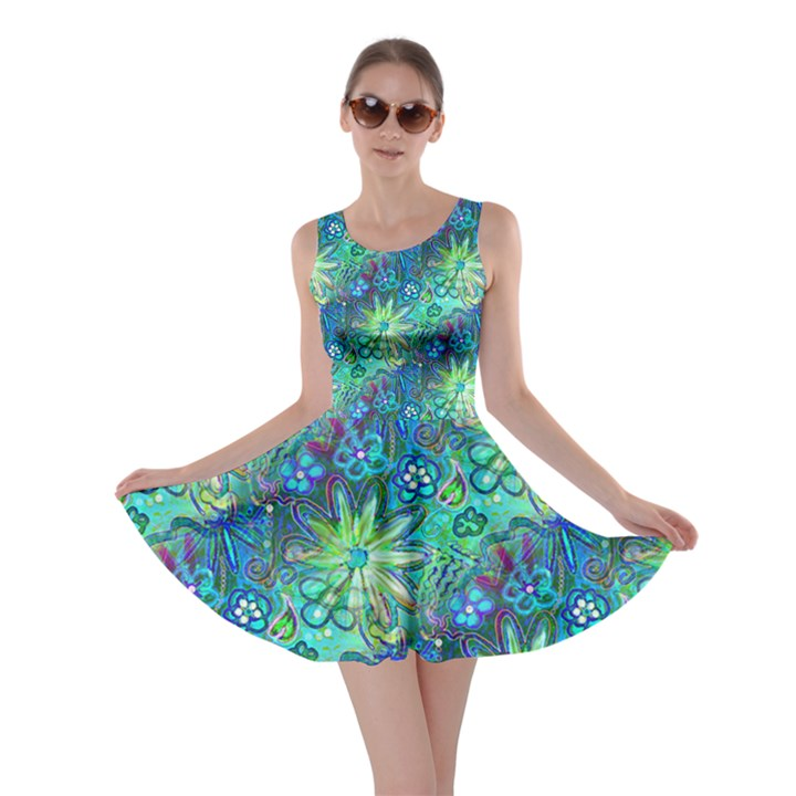 Rokin Aqua Blue Floral Skater Dress