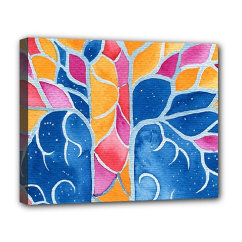 Yellow Blue Pink Abstract  Deluxe Canvas 20  X 16  (framed)