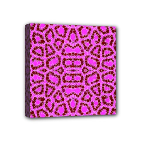 Florescent Pink Animal Print  Mini Canvas 4  x 4  (Framed) by OCDesignss