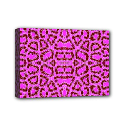 Florescent Pink Animal Print  Mini Canvas 7  X 5  (framed) by OCDesignss