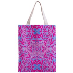 Trippy Florescent Pink Blue Abstract  Classic Tote Bag by OCDesignss