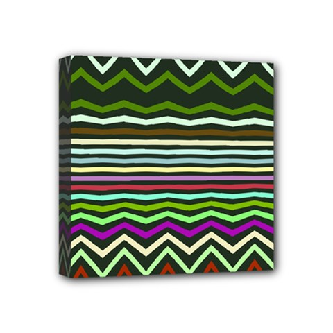 Chevrons And Distorted Stripes Mini Canvas 4  X 4  (stretched) by LalyLauraFLM