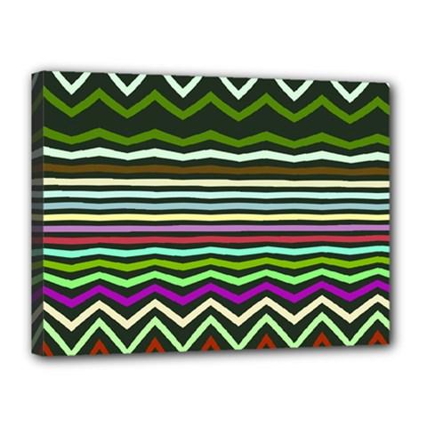 Chevrons And Distorted Stripes Canvas 16  X 12  (stretched)