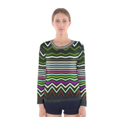 Chevrons and distorted stripes Women Long Sleeve T-shirt by LalyLauraFLM