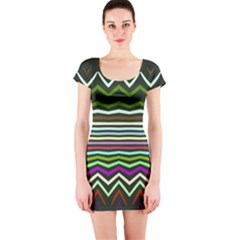 Chevrons And Distorted Stripes Short Sleeve Bodycon Dress