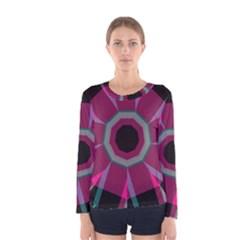 Striped Hole Women Long Sleeve T Shirt by LalyLauraFLM