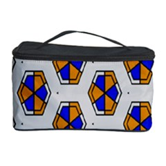 Orange Blue Honeycomb Pattern Cosmetic Storage Case