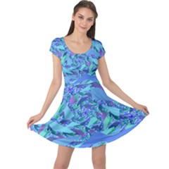 Blue Confetti Storm Cap Sleeve Dress