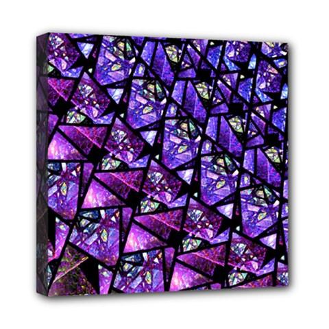 Blue Purple Glass Mini Canvas 8  X 8  (framed)