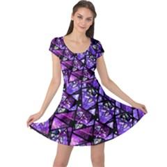 Blue Purple Glass Cap Sleeve Dress
