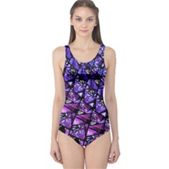 Blue purple Glass One Piece Swimsuit by KirstenStar