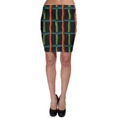 Orange Green Wires Bodycon Skirt
