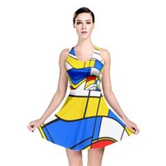 Colorful Distorted Shapes Reversible Skater Dress