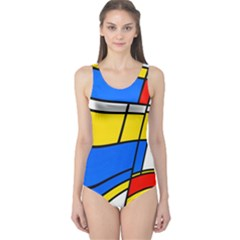 Colorful Distorted Shapes Women s One Piece Swimsuit