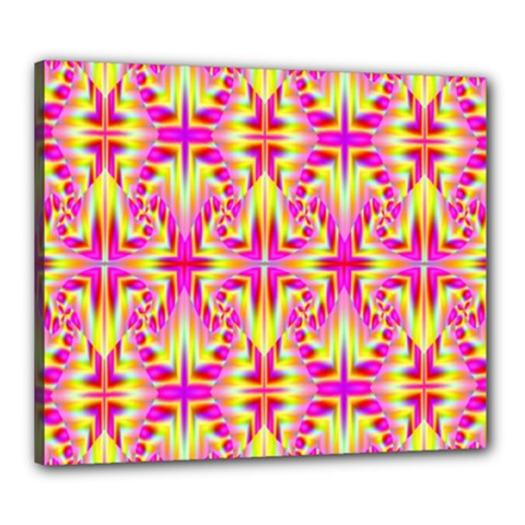 Pink And Yellow Rave Pattern Canvas 24  X 20  (framed) by KirstenStar