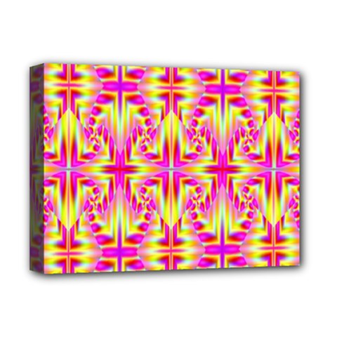 Pink And Yellow Rave Pattern Deluxe Canvas 16  X 12  (framed)  by KirstenStar