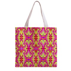 Pink And Yellow Rave Pattern Grocery Tote Bag by KirstenStar