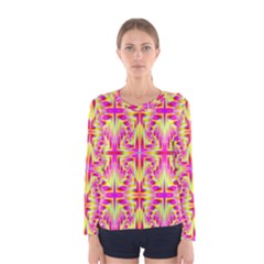 Pink and Yellow Rave Pattern Women s Long Sleeve T-shirt by KirstenStar