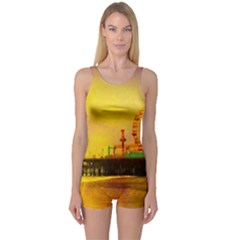 Yellow Purple Santa Monica Pier One Piece Boyleg Swimsuit by stineshop