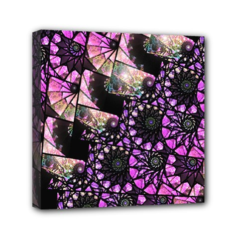 Hippy Fractal Spiral Stacks Mini Canvas 6  x 6  (Framed) by KirstenStar