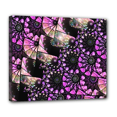 Hippy Fractal Spiral Stacks Deluxe Canvas 24  X 20  (framed) by KirstenStar