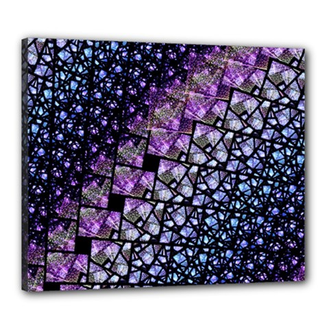 Dusk Blue And Purple Fractal Canvas 24  X 20  (framed) by KirstenStar