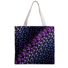 Dusk Blue And Purple Fractal Grocery Tote Bag by KirstenStar