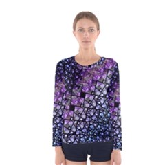 Dusk Blue And Purple Fractal Women s Long Sleeve T Shirt by KirstenStar