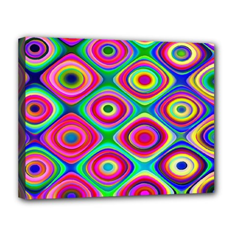 Psychedelic Checker Board Canvas 14  X 11  (framed) by KirstenStar