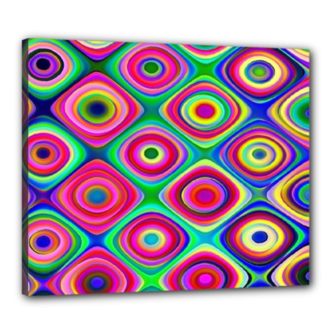 Psychedelic Checker Board Canvas 24  X 20  (framed) by KirstenStar